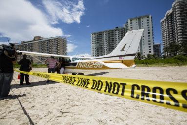 Cessna Plane landing on Miami Beach